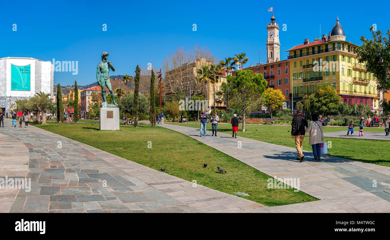 People walking on Promenade du Paillon in center of Nice, France. Stock Photo