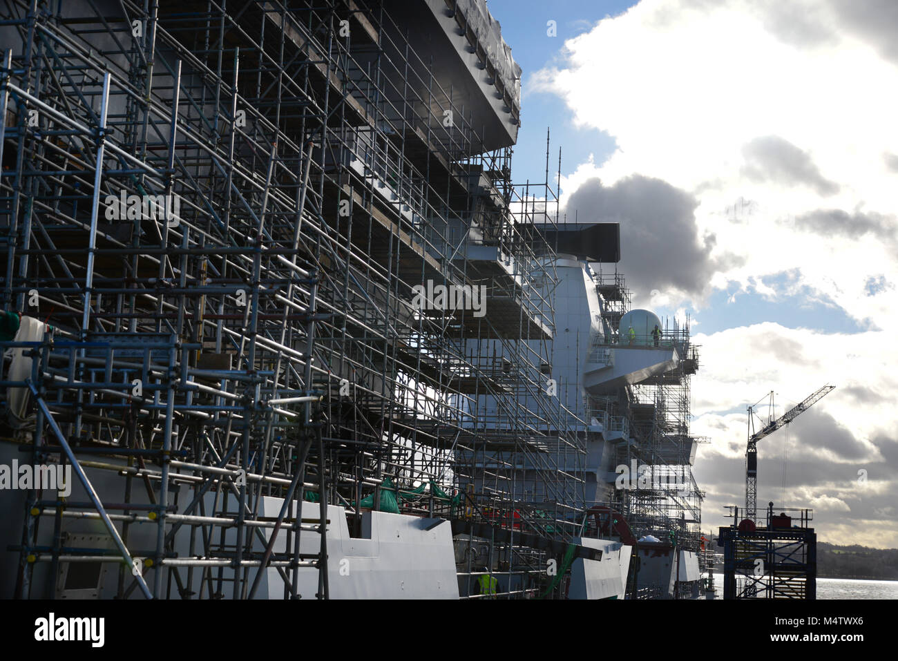 HMS Queen Elizabeth during building at Rosyth - Stock Image