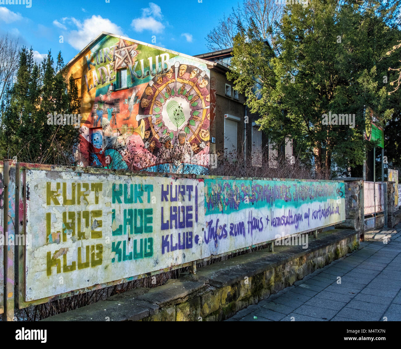 Berlin_Pankow. Kurt Lade Klub building exterior. Cult youth club offers cultural & music events & facilities - Stock Image