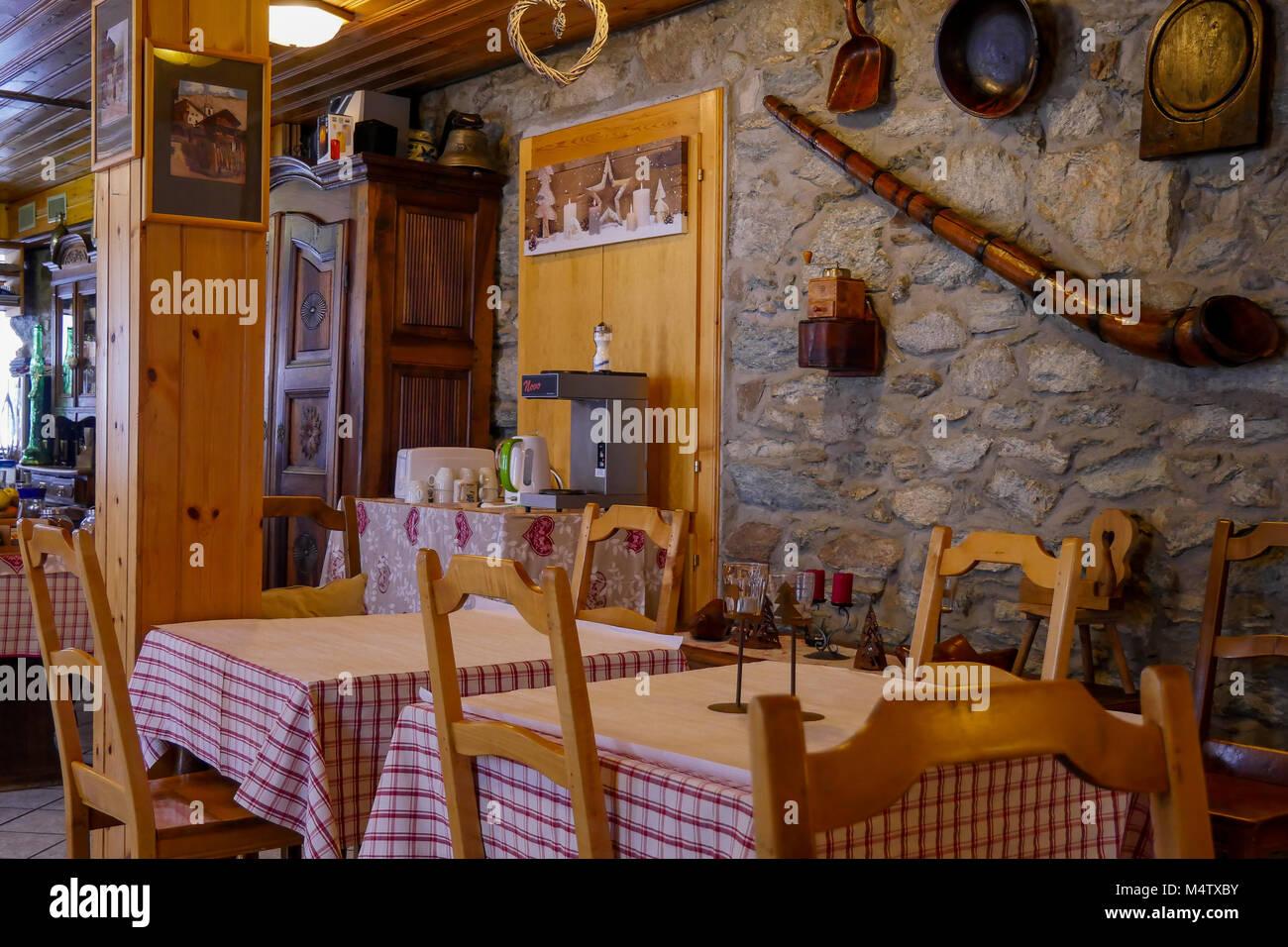 Mountain restaurant, Val d'Herens, Valais, Swiss - Stock Image