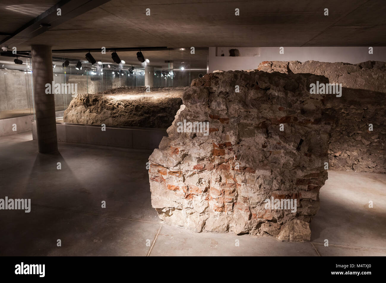 Underground ruins exhibition in Bratislava Castle Museum of History in Bratislava, Slovakia, Europe Stock Photo