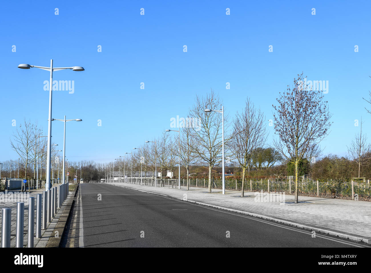 Charles Babbage road at the west Cambridge site of the university in the town of Cambridge, England. - Stock Image