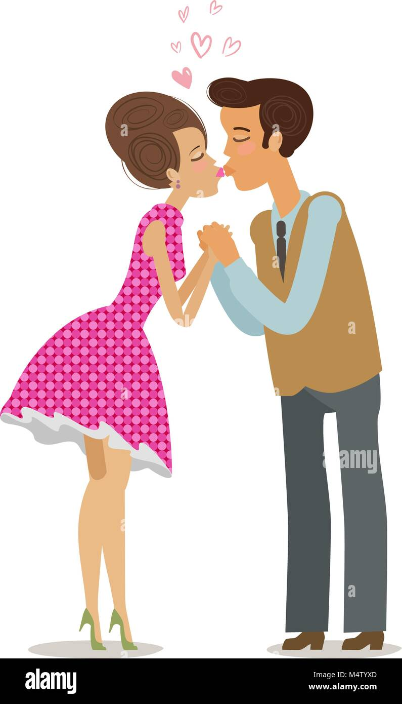 Couple in love kissing tenderly on lips. Romantic date, kiss concept. Cartoon vector illustration - Stock Image
