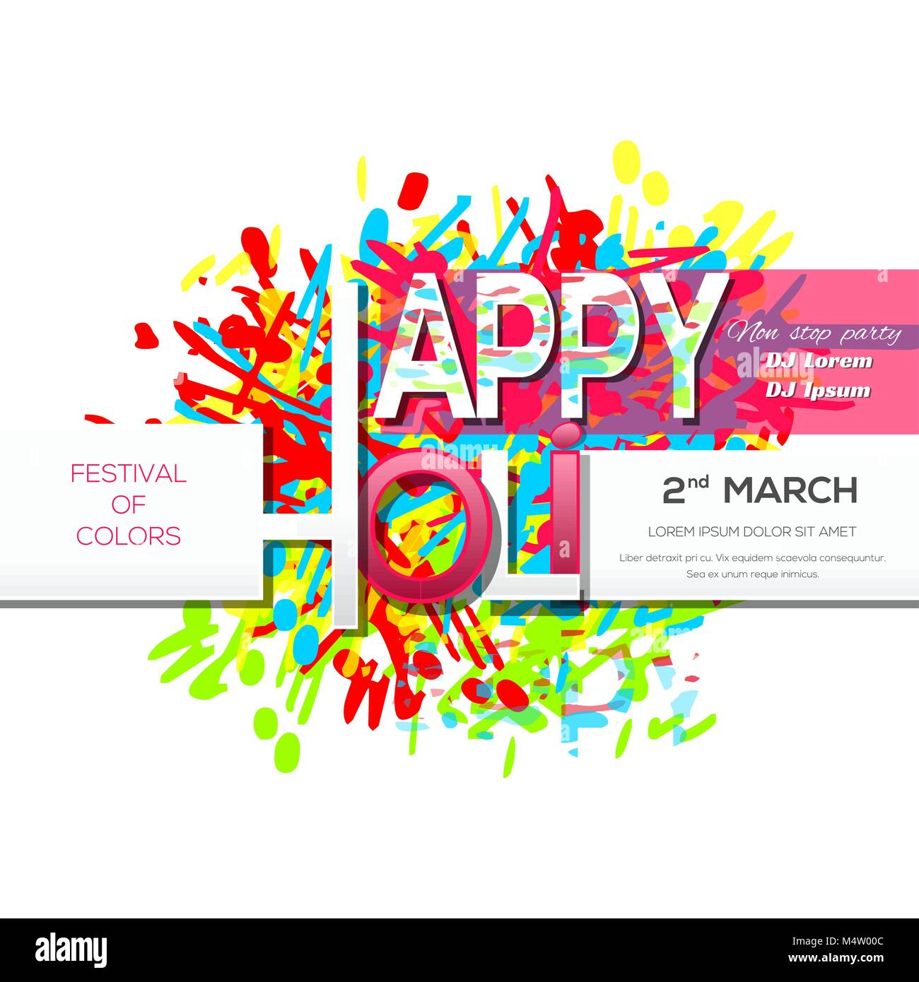 Holi festival cut out stock images pictures alamy holi 2018 2nd march invitation poster stock image stopboris Image collections