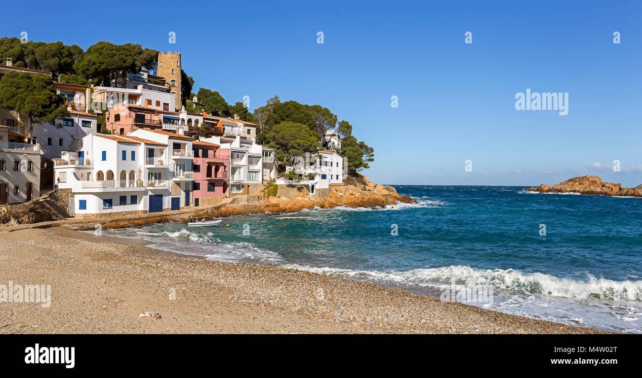 Panoramic view of Sa Tuna, a fishermen village in Costa Brava, Catalonia Stock Photo