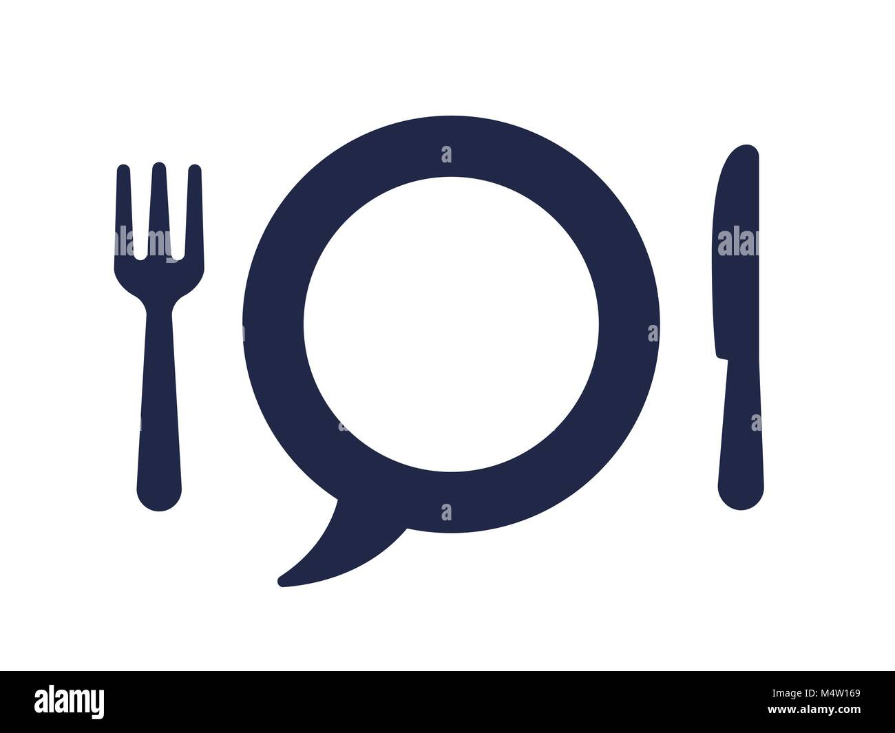 Fork and knife with speech bubble plate blue logo icon isolated on ...