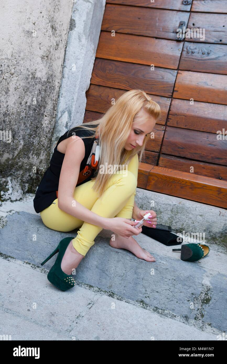 Young woman legs heels images alpfabet Stock Photo