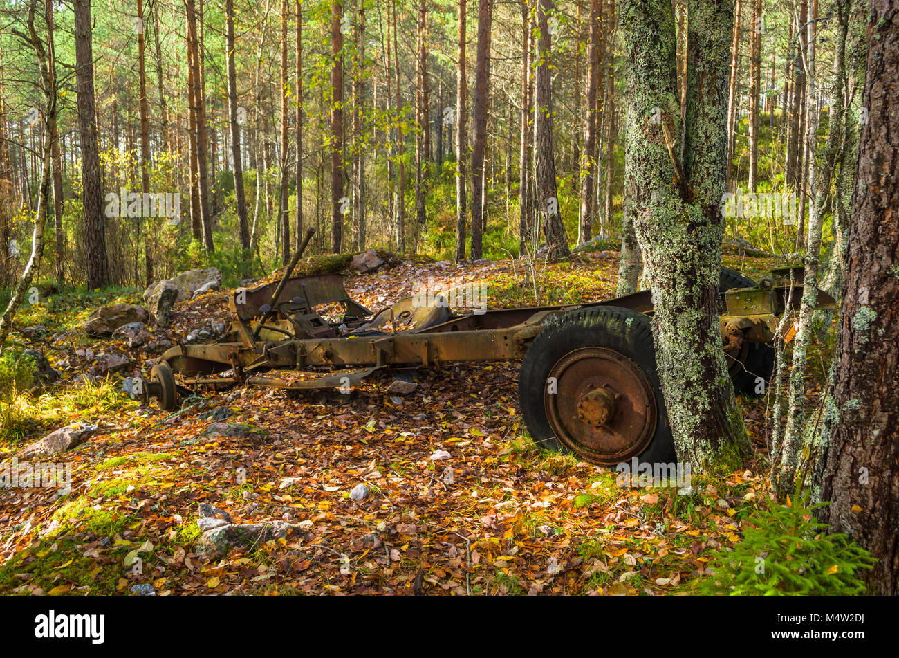 Remains of old ancient car wreck in area of mining activity, Naturstien, Evje, Norway. - Stock Image