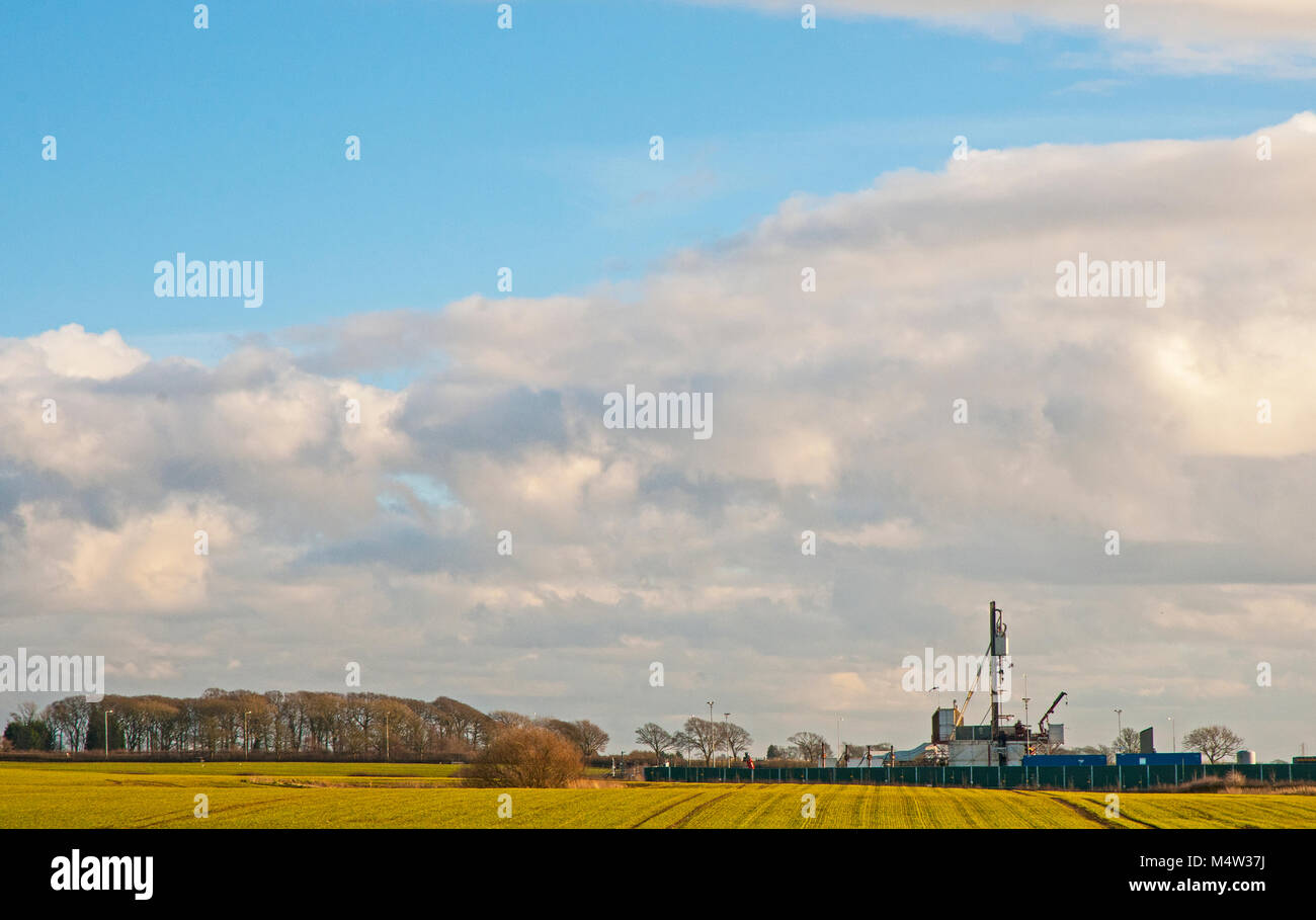 Fracking Drilling site at Little Plumpton Outside Blackpool Lancashire England - Stock Image