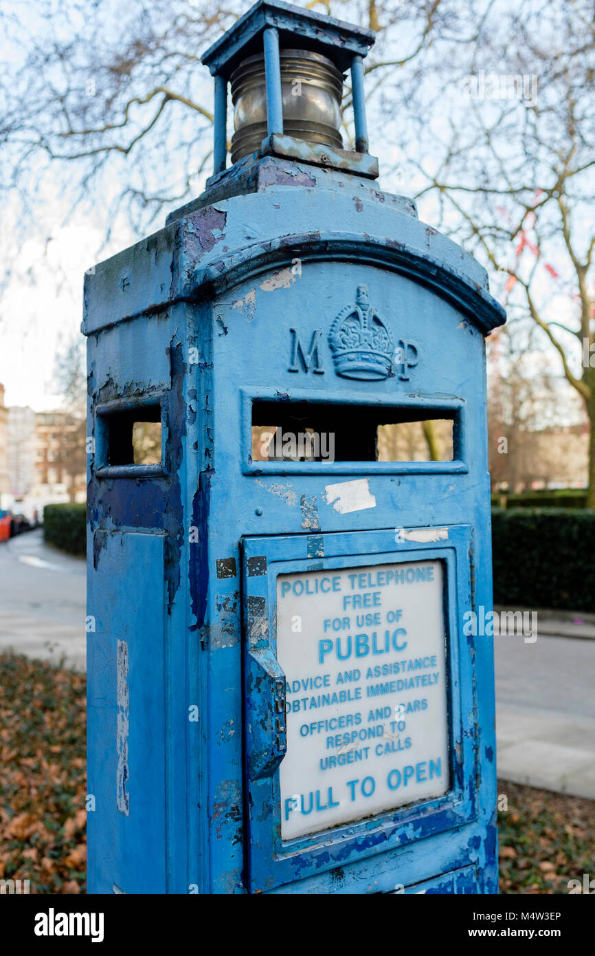 An old Metropolitan Police public telephone box, London, UK Stock Photo