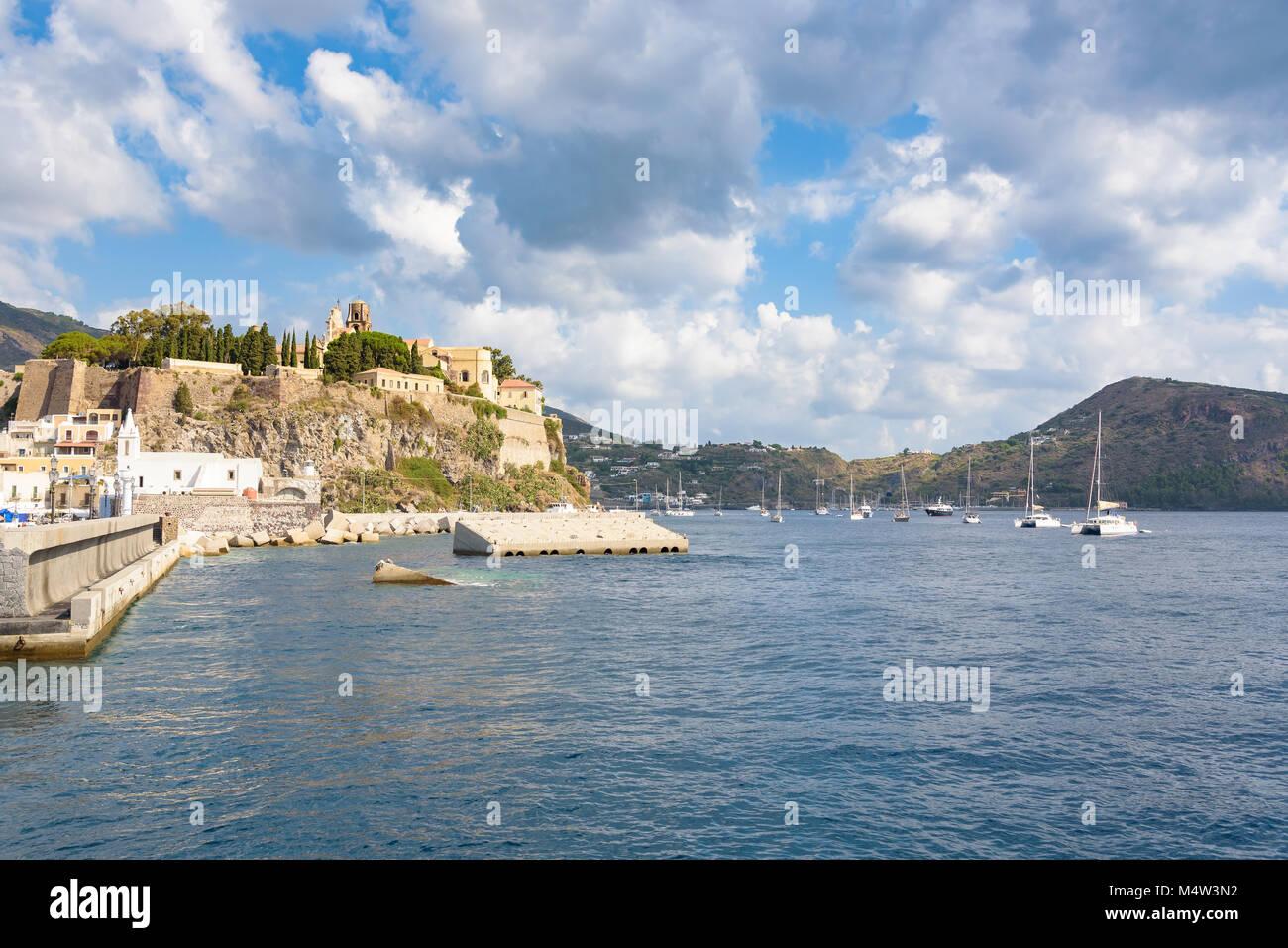 View of the Castle rock on Lipari Island, Aeolian Islands, Italy Stock Photo