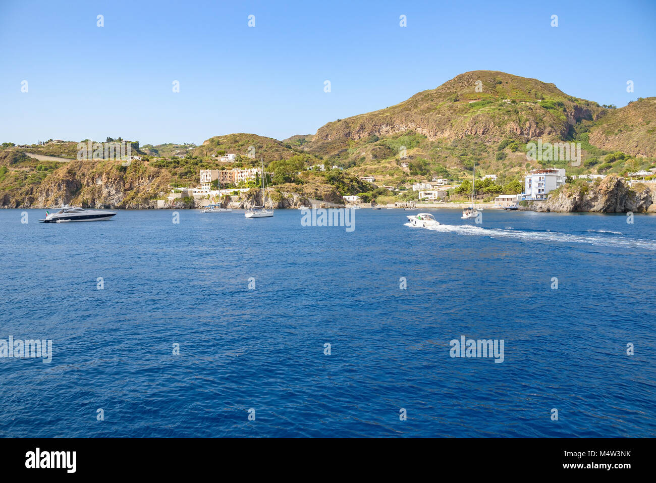 Lipari Island seen from the sea, Aeolian Islands, Italy Stock Photo