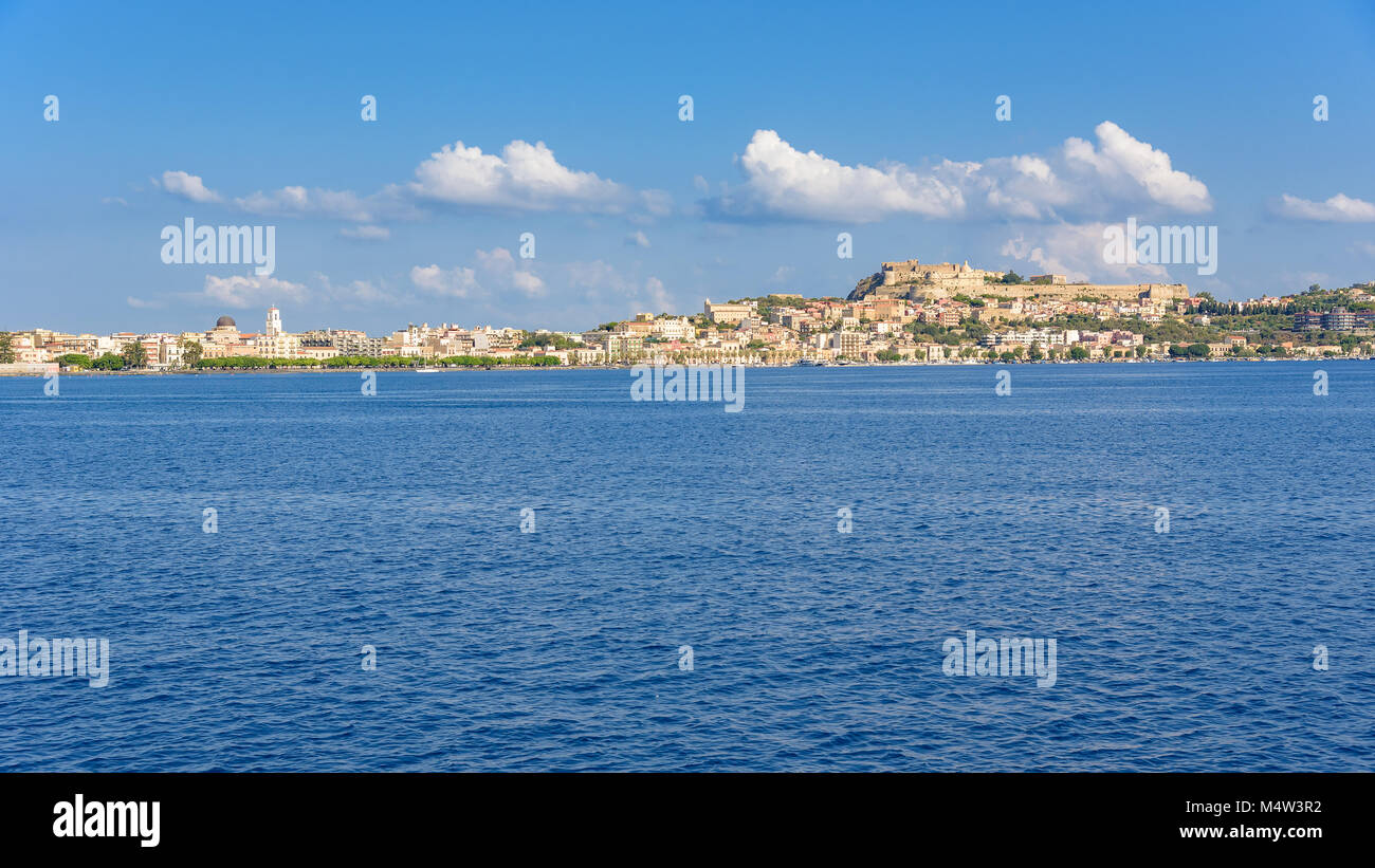 Panoramic view of Milazzo town from the sea, Sicily, Italy Stock Photo