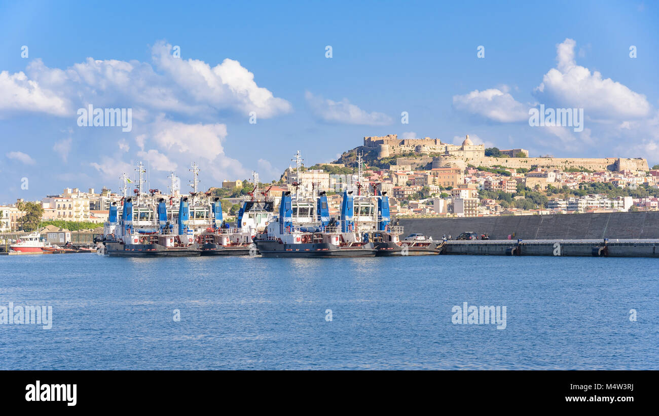 Tugs in the port of Milazzo, Sicily, Italy Stock Photo
