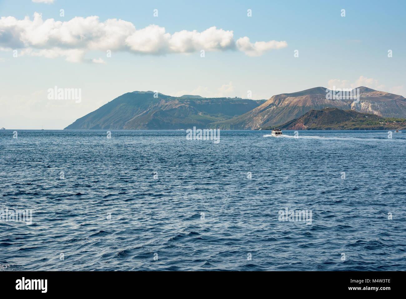 Vulcano Island seen from the sea, Aeolian Islands, Italy Stock Photo