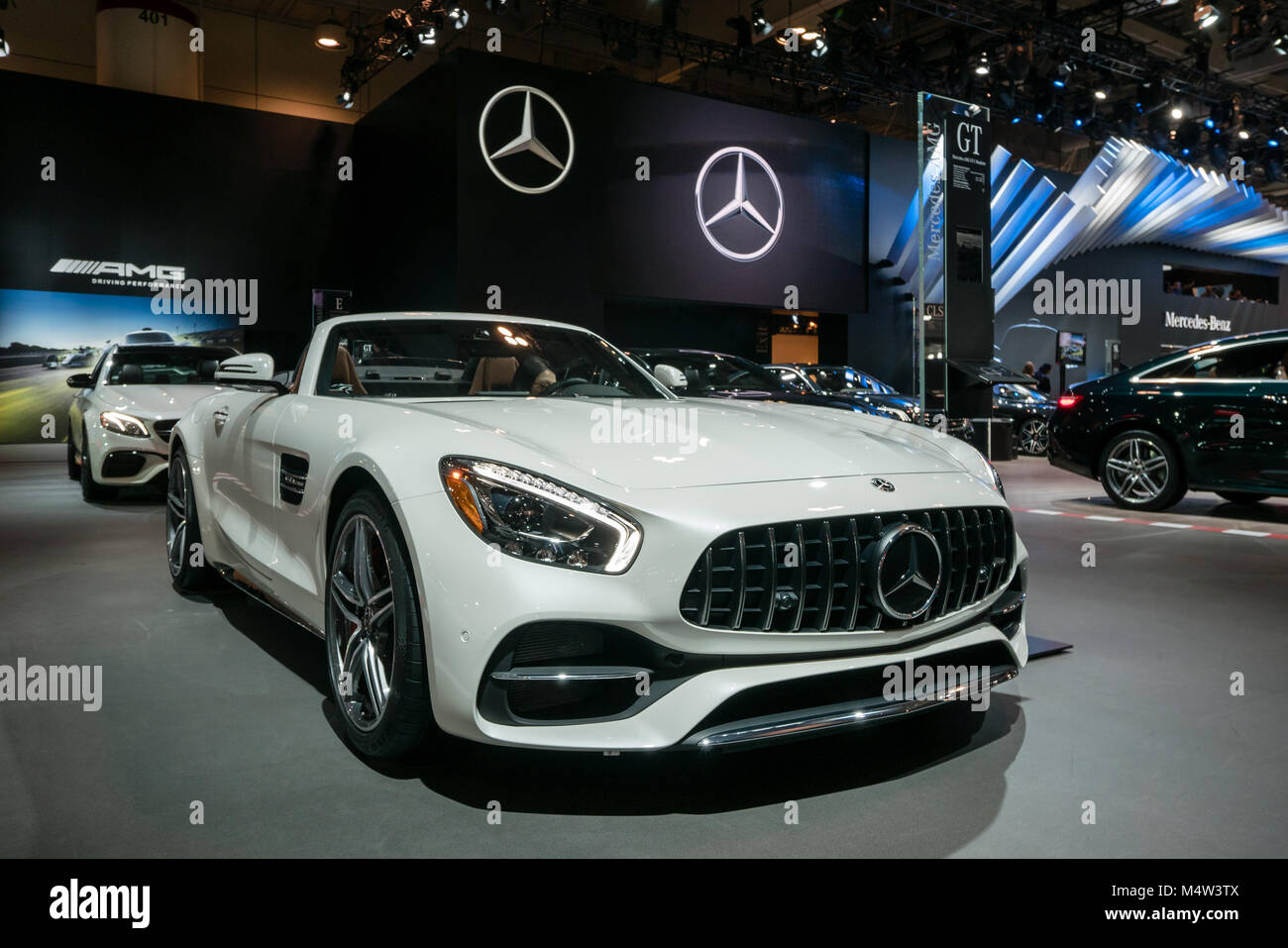 Mercedes Benz Amg Gt Roadster White At A Car Show Stock Photo Alamy