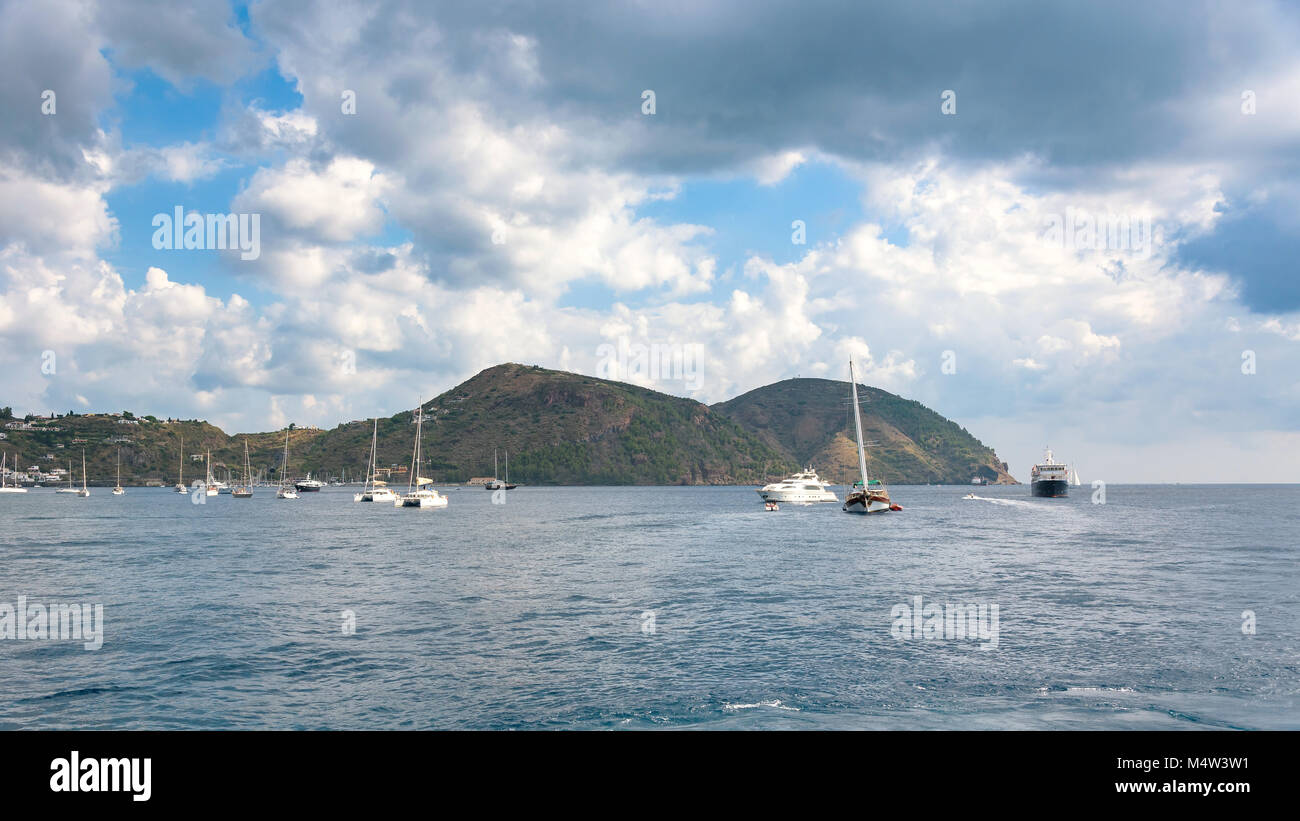Yachts at the Lipari Island, Aeolian Islands, Italy Stock Photo