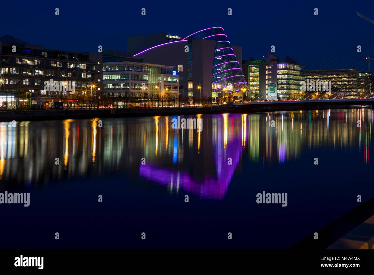 Dublin's River Liffey at night, nightscape of Dublin. - Stock Image