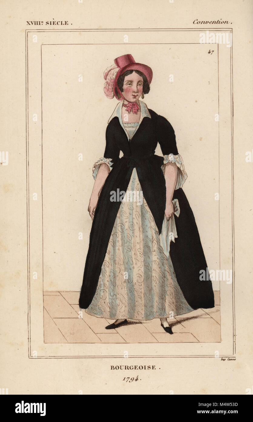 Bourgeoise woman, 1794, French National Convention era. Handcoloured lithograph from Le Bibliophile Jacob aka Paul - Stock Image
