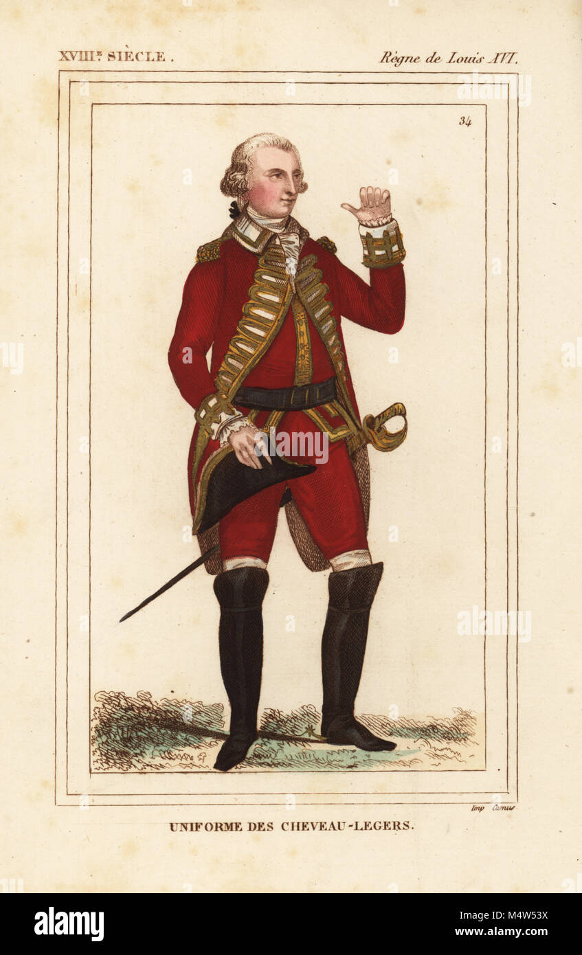Uniform of the French light horse cavalry, Chevau-Legers, 1790. Handcoloured lithograph from Le Bibliophile Jacob - Stock Image