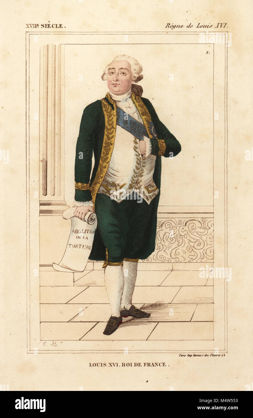 King Louis XVI of France costume of 1776 with sash of the Order of the Holy Spirit. Handcoloured lithograph by Charles Breton after a portrait in ...  sc 1 st  Alamy & King Louis XVI of France costume of 1776 with sash of the Order of ...
