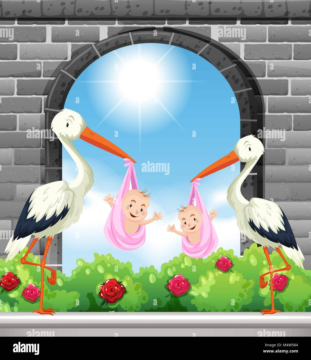 Two birds deliver baby girls illustration - Stock Vector