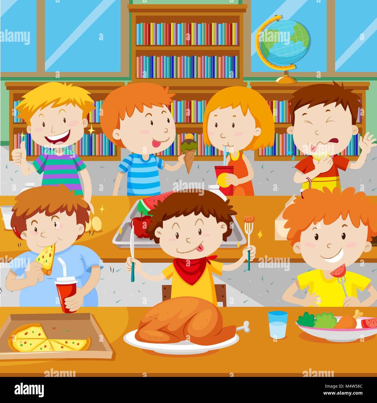 school canteen stock vector images - alamy
