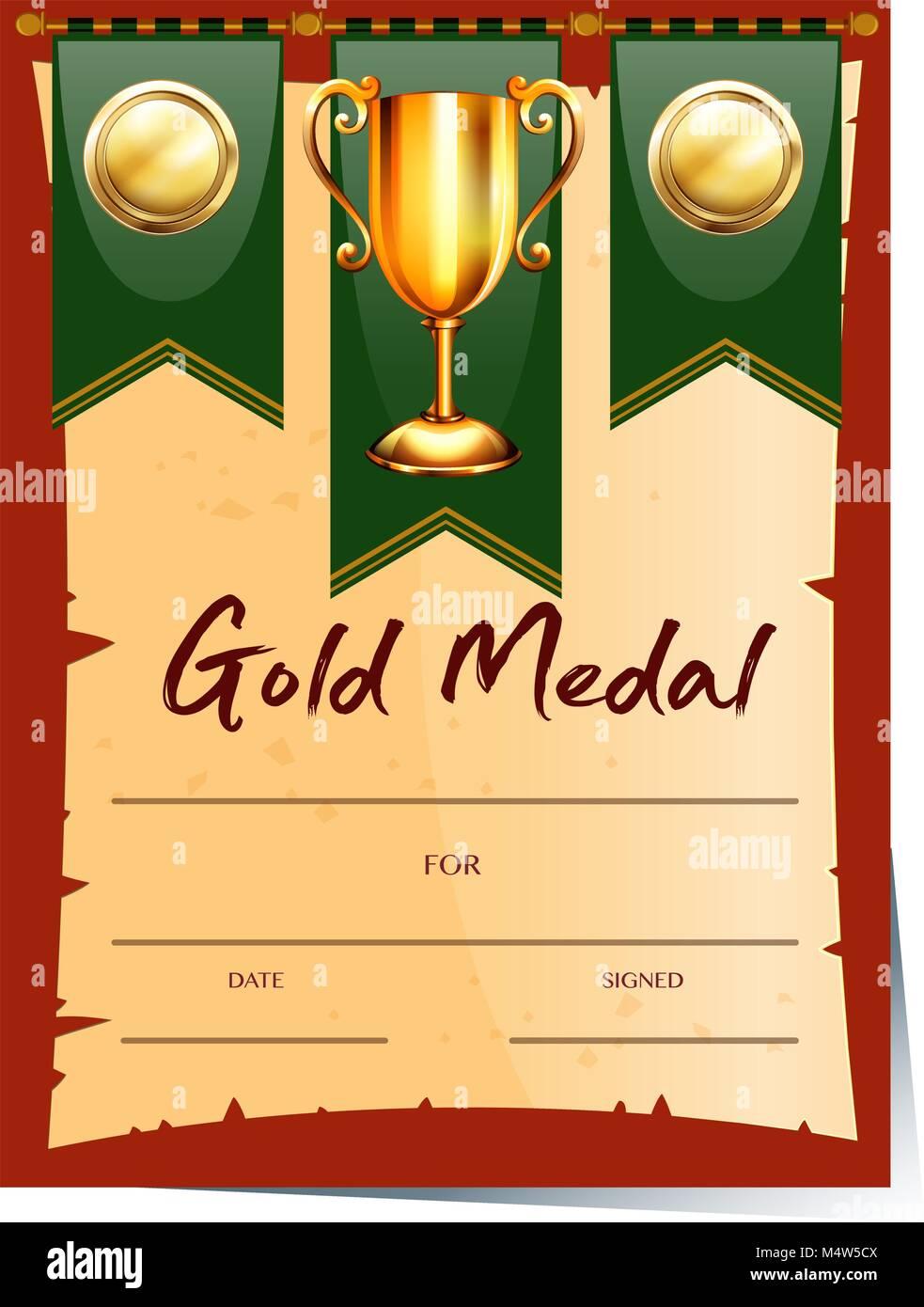Certificate Template For Gold Medal Illustration Stock Vector Art