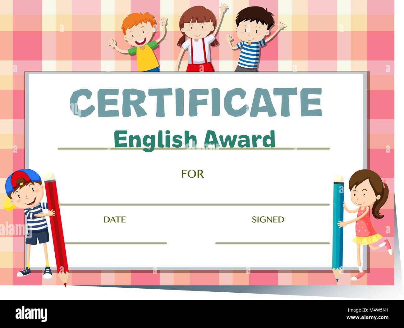 Certificate Template For English Award With Many Kids Illustration