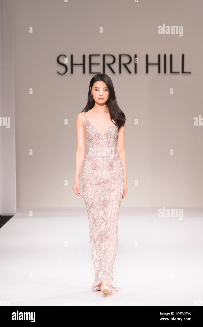 8cdc832ba203 New York, NY - February 9, 2018: Model walks runway for Sherri Hill Autumn/Winter  2018 runway at New York Fashion Week at Gotham Hall