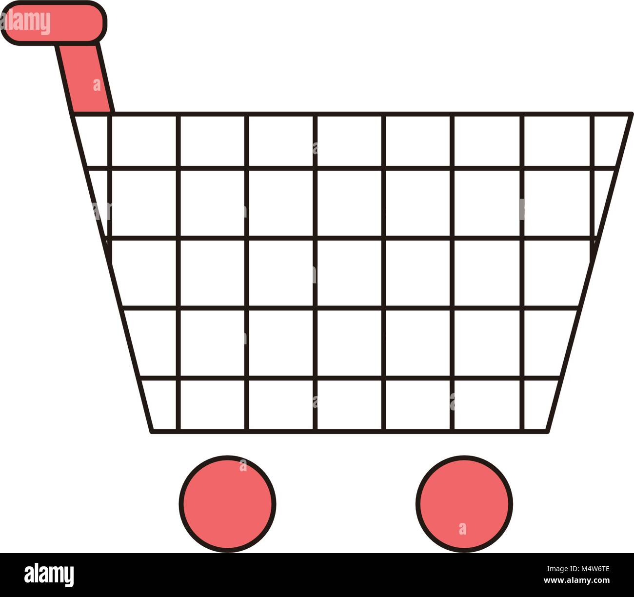 Shopping Cart Vector Outline Icon Illustration - Stock Image