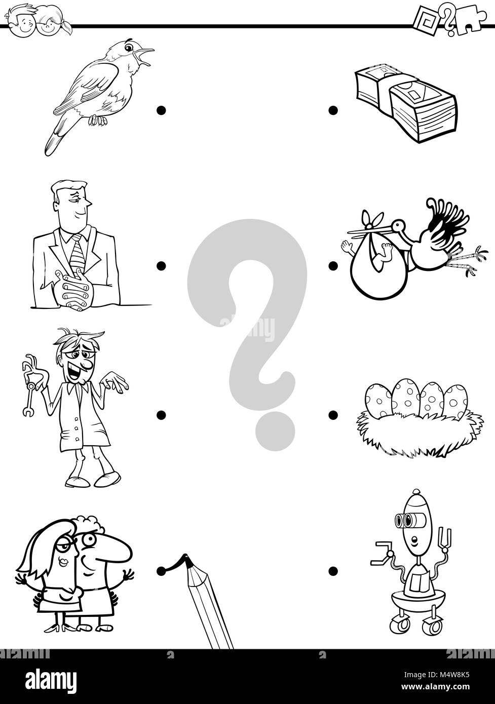 match objects educational coloring book - Stock Image