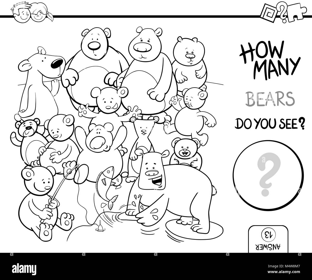 counting bears coloring book activity Stock Photo: 175117943 ...