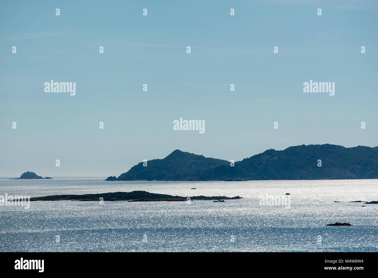 View to the Bay of Isola Tavolara, Sadegna Stock Photo