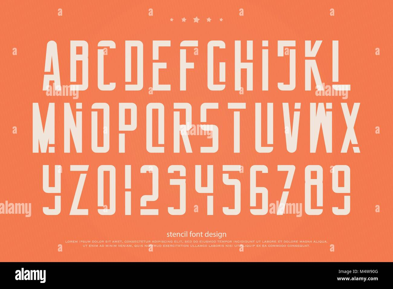 stencil alphabet letters and numbers  vector, geometric font type