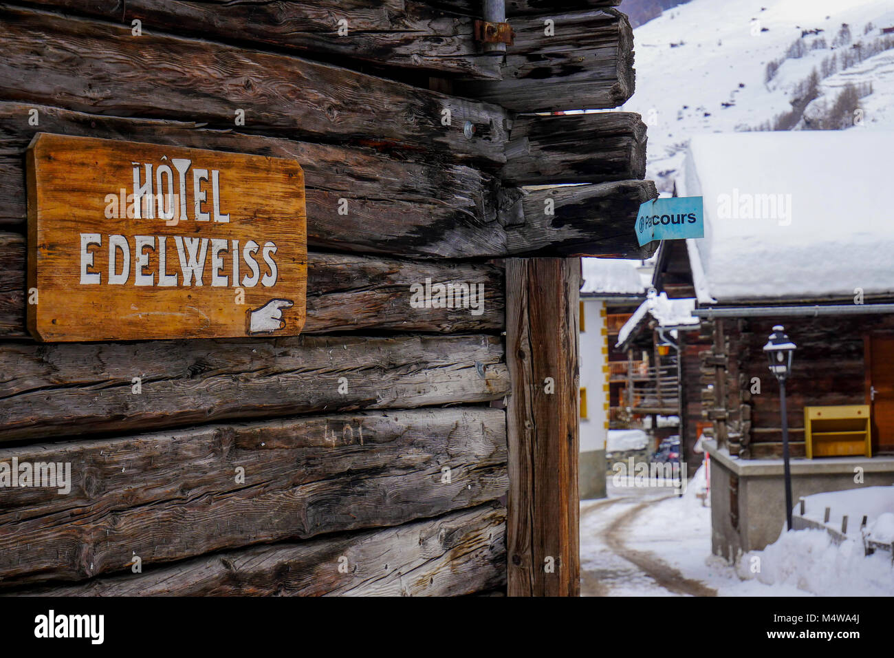 General view of the old center of Les Hauderes, Val d'Herens, Valais district, Swiss - Stock Image
