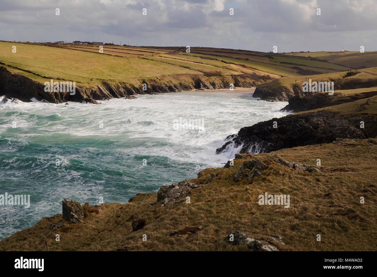 Beautiful Cornish seascape showing sea and rugged coastline of Cornwall. - Stock Image