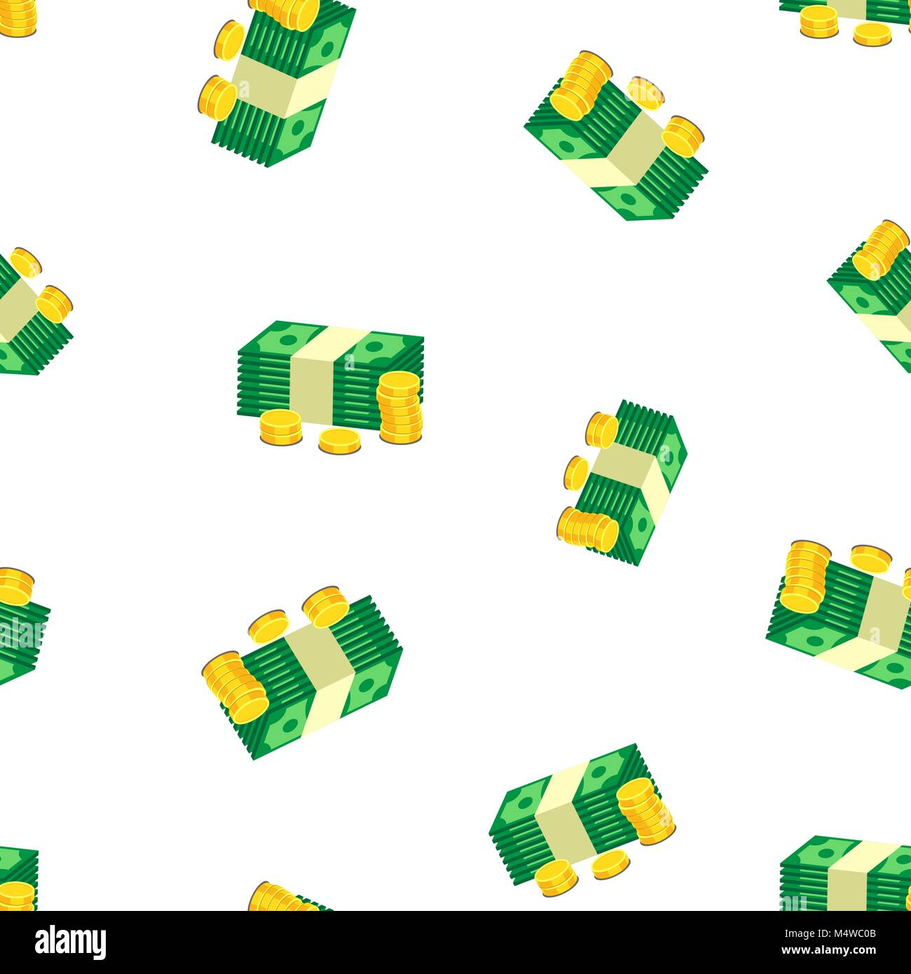 Stacks of gold coins and dollar cash seamless pattern background. Business flat vector illustration. Money sign - Stock Vector