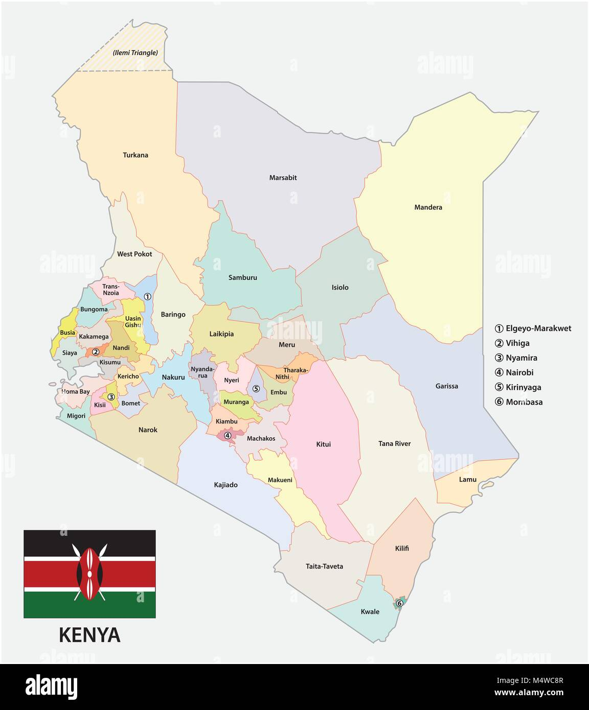 Administrative and political vector map of the Republic of Kenya with flag - Stock Image