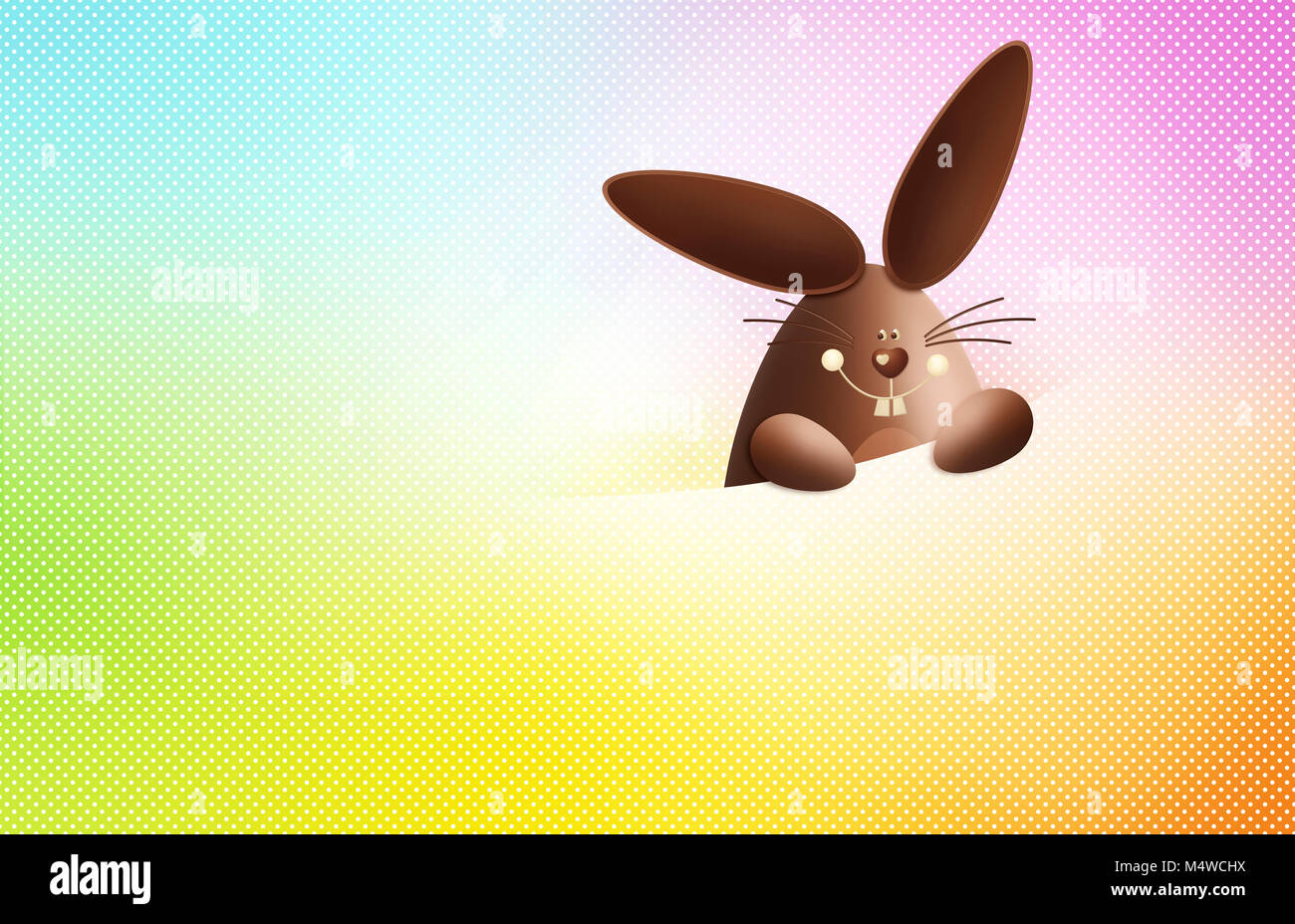 happy easter, chocolate funny bunny showing the sign isolated on colorful background, gift card template with copy Stock Photo