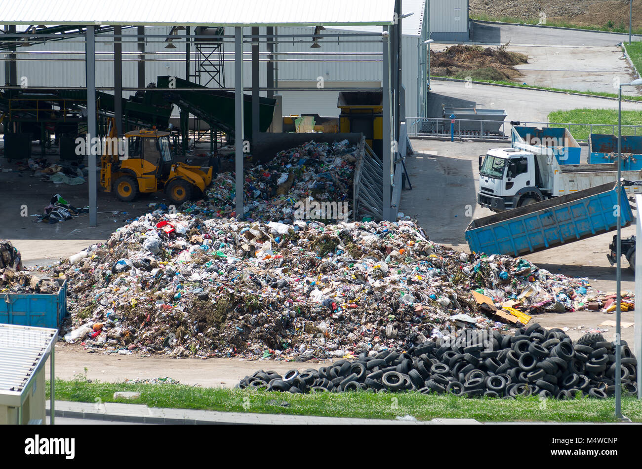 Urban landfill built under the program Environment with a grant from the European Union. Waste treatment plant depot. - Stock Image