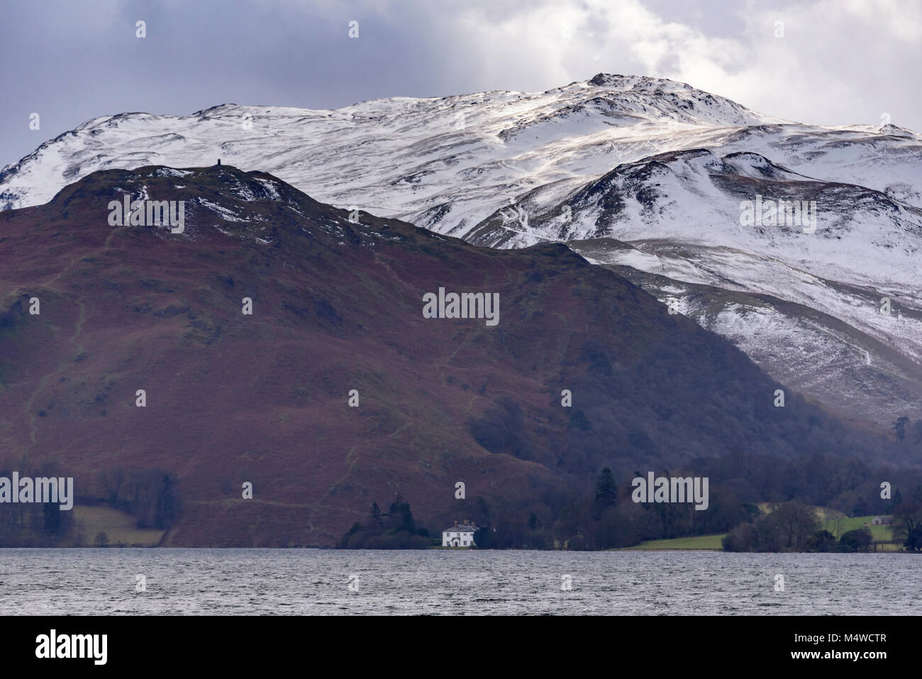 Ullswater Lake district snowy hills. - Stock Image