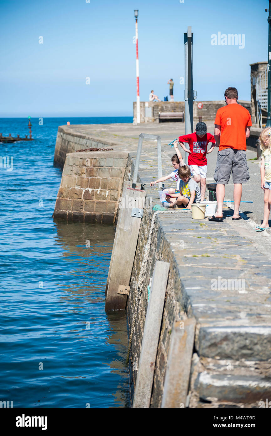 Aberaeron Harbor on a sunny summers day - Stock Image