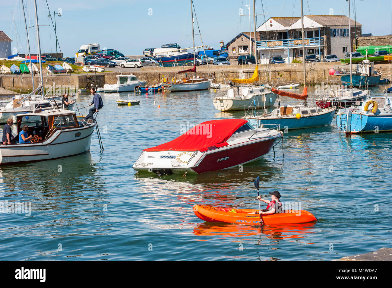 Aberaeron Harbor on a sunny summers day Stock Photo