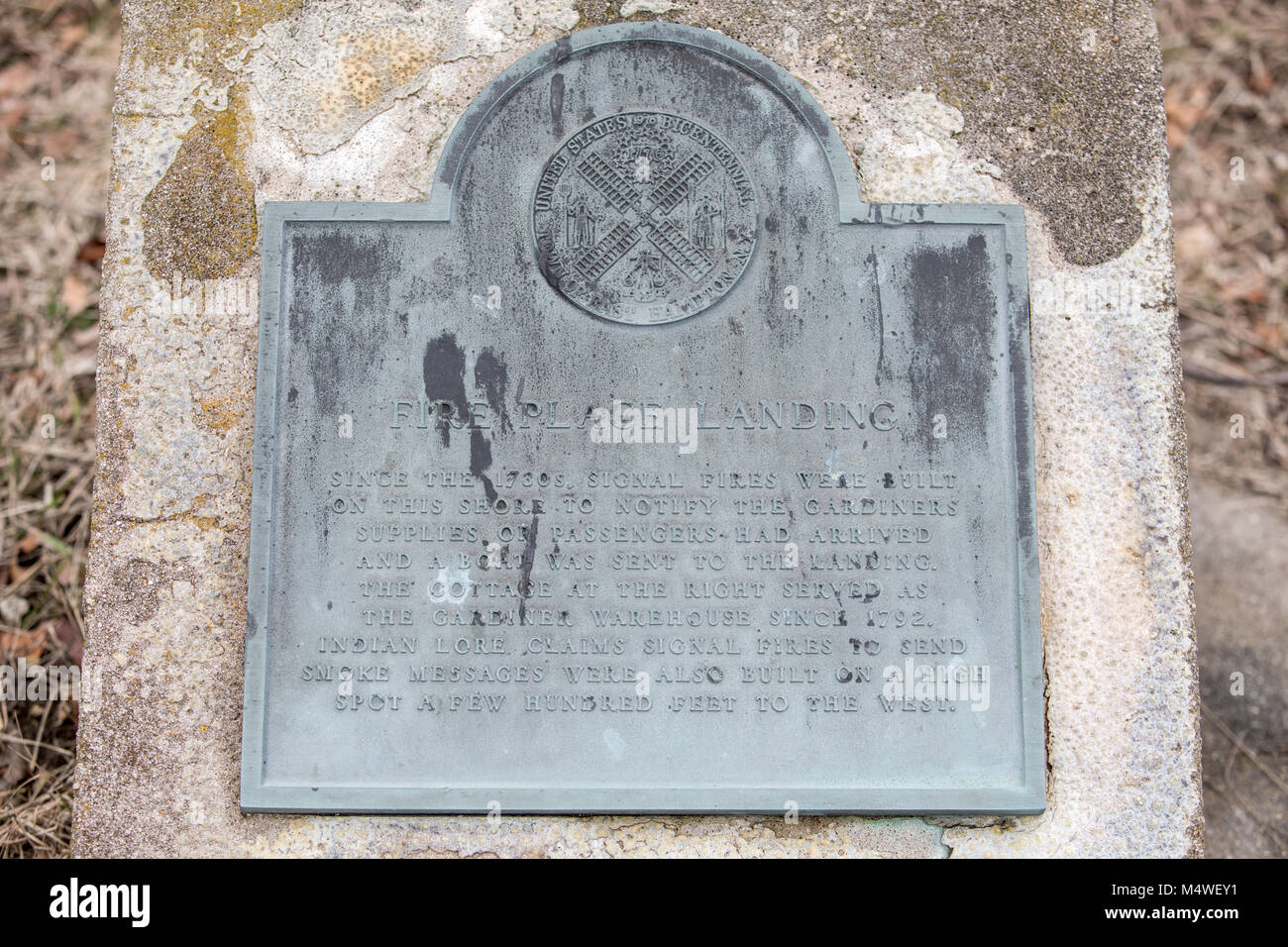 historic place marked by a marker at Fire Place landing in east hampton, ny - Stock Image