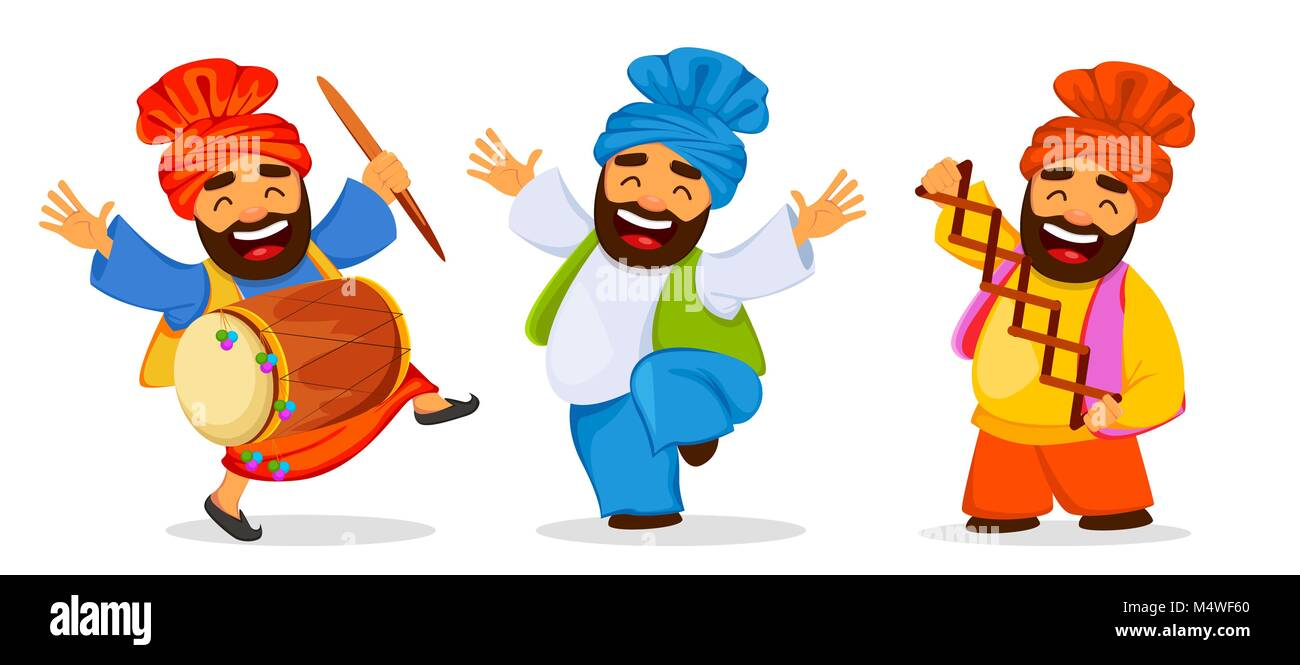 Popular winter Punjabi folk festival Lohri. Funny dancing Sikh man celebrating holiday, set of cartoon character. - Stock Vector
