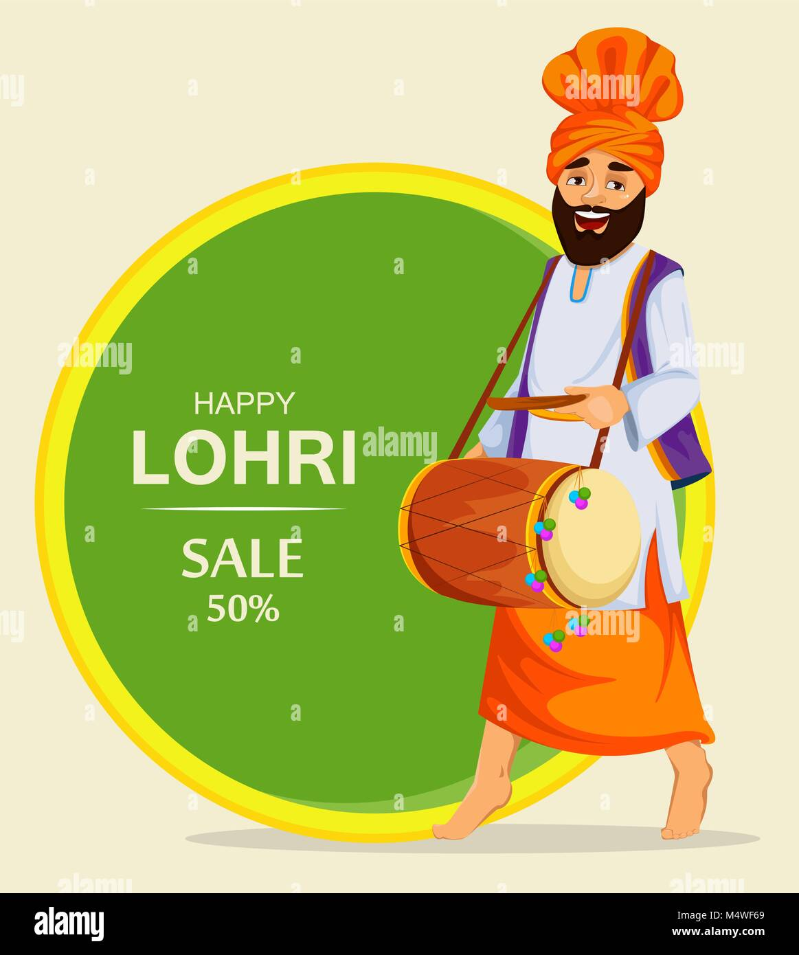 Popular winter Punjabi folk festival Lohri. Sikh man with decorated drum. Banner, poster for sale. Vector illustration. - Stock Vector