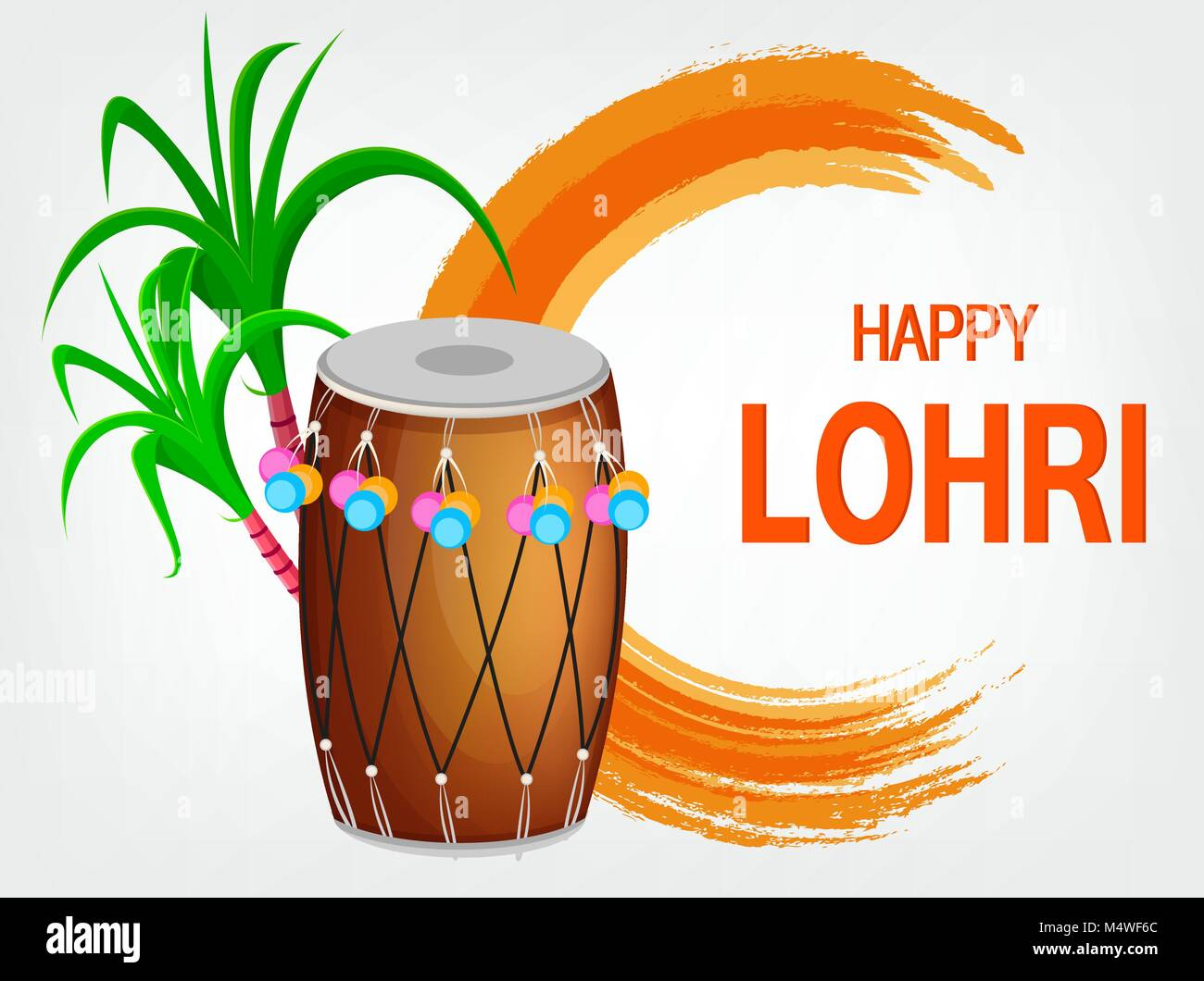 Popular winter Punjabi folk festival Lohri. Traditional decorated drum and sugarcane. Greeting card for holiday. - Stock Vector