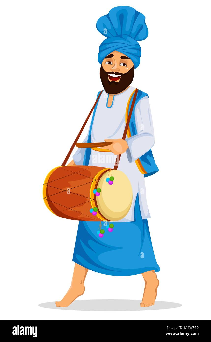 Popular winter Punjabi folk festival Lohri. Sikh man with decorated drum. Vector illustration on white background - Stock Vector