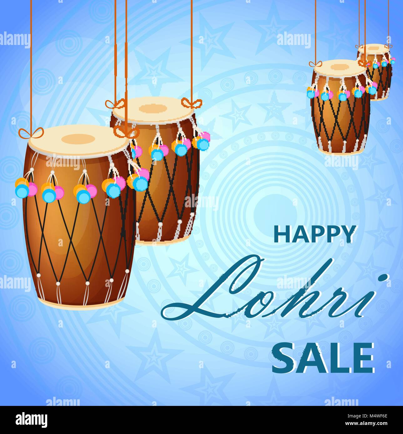 Popular winter Punjabi folk festival Lohri. Banner with hanging drums for sale, poster. Vector illustration on blue - Stock Vector